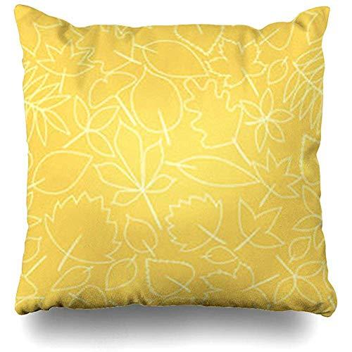 Fodere per cuscini per cuscini Golden Yellow Fall Autumn Leaves Pattern Nature Falling Orange Abstract Branch Clima Color Federa Decorazioni per la casa Divano Dimensioni quadrate 40x40cm (16In) Federe
