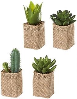 Dcasa - Cactus artificial en maceta en tela de saco