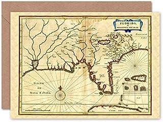 Fine Art Prints Florida gammal antik karta gratulationskort med kuvert inuti premiumkvalitet