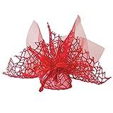 Confezione 30 pezzi Bomboniera sacchettino polycotton rete + velo organza + nastro autotirante, portaconfetti sacchetti a rete colore ROSSO Themagicfour®