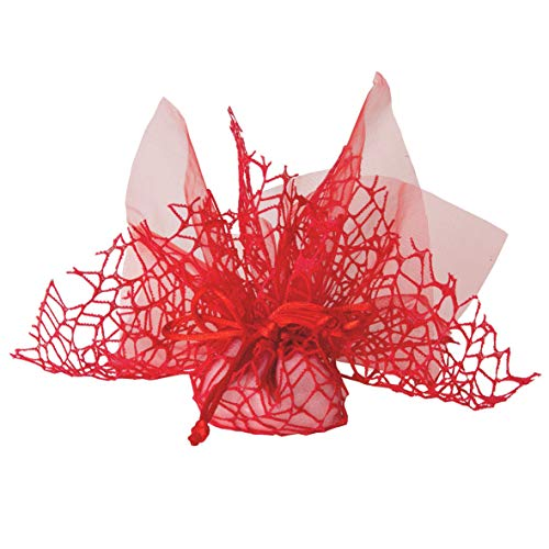 Pianeta Confetti Bonbonschachtel, Beutel aus Polycotton mit Netz + Organzatuch + Zugband, für Bonbons, Packung mit 10 Stück (ck1768) rot