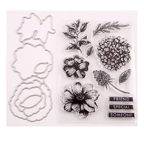 3.9 by 5.9 Inches Daisy Flower Leaves Letters Stamps and Die Set for Scrapbooking Card Making Christmas Stamps and Dies (T1538)