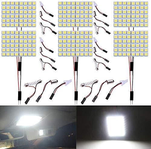 DEFVNSY - Paquete de 6 - 600Lums blanco 5050 48SMD RV Bombilla LED de iluminación interior para panel de 12 V CC, luces de techo con mapa de domo con 6 adaptadores T10 / BA9S / Festoon