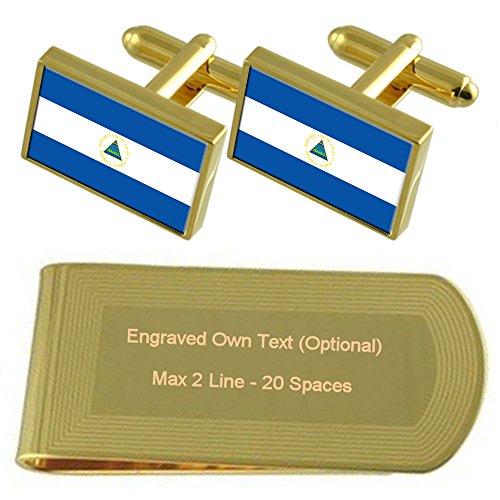 Nicaragua Bandera tono Oro gemelos Money Clip grabado Set de regalo