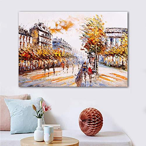 Paisaje urbano paisaje callejero cartel lienzo pintura pared imagen sala decoración imagen