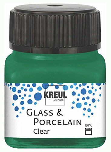 Kreul 16224 - Glass und Porcelain Clear, transparente Glas- und Porzellanmalfarbe auf Wasserbasis, schnelltrocknend, glasklar, 20 ml im Glas, dunkelgrün