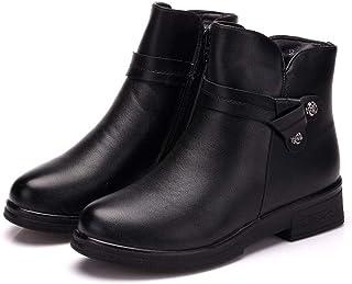 [GoldFlame-JP] ショートブーツ レディース 裏起毛 シニア 婦人靴 厚底靴 あったか 保温 滑らない レザー素材 サイドジップ 雪対応 ムトンブーツ 大きいサイズ ブラック ブーツ シニアブーツ 25.5cm 黒