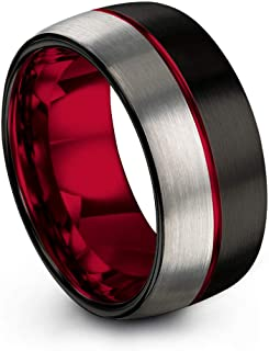 Tungsten Carbide Wedding Band Ring 10mm for Men Women Green Red Fuchsia Copper Teal Blue Purple Black Center Line Dome Black Grey Half Brushed Polished