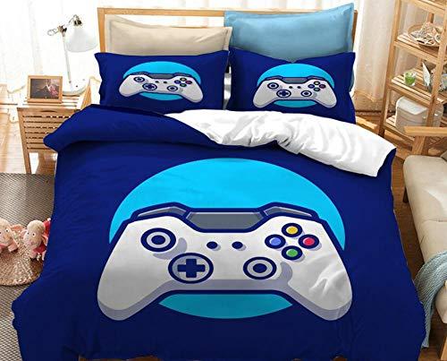 Consola de juegos Funda de edredón y funda de almohada con patrón impreso en 3Dla ropa de cama favorita para niños y niñas.adecuada para una cama individual doble tamaño king-228x228cm (3 piezas) _2