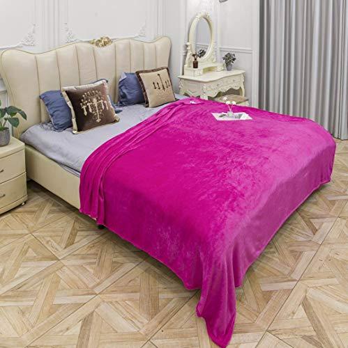 EUROSTYLE Fleecedecke, einfarbig, schwer, weich, für Bett und Sofa, aus Mikrofaser (Art. SISI 130 x 160 cm, Fuchsia)