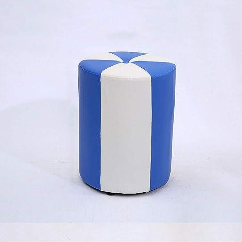 Dekorativer Hocker Aus Leder Mit Schaumstoffbasis Kreativer Weißer Tür erungsschuhhocker Massivholz-Strukturhocker Lila Gelbes Blaues Rosa (Farbe   Blau, Größe   L)