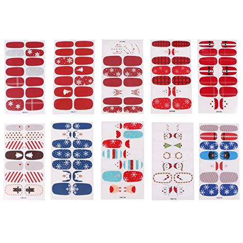 Lurrose 10 Stks Nagels Stijlvolle Nagels Kerstmis Nagels Mooie Nagels Nagel Wrap Stickers DIY Nagel Nagels Sticker voor Kinderen Meisje