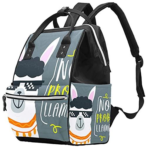 WJJSXKA Mochilas Bolsa de pañales Mochila para portátil Mochila de viaje Senderismo Mochila para mujeres Hombres - Alpaca con gafas de sol