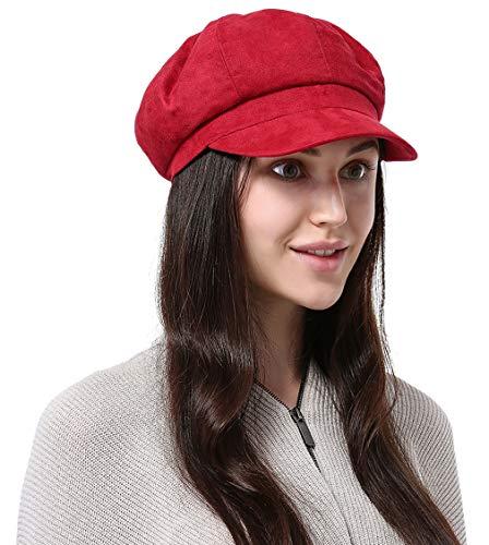 DEMU Damen Schirmmütze Barett Mütze Winter Ballonmütze Cap Gatsby (Rot)