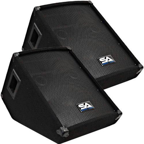 "Seismic Audio - Pair of 10"" Wedge Style FLOOR MONITORS - Studio, Stage, or Floor use - PA/DJ Speakers - Bar, Band, Karaoke, Church, Drummer use"