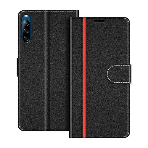 COODIO Handyhülle für Sony Xperia L4 Handy Hülle, Sony Xperia L4 Hülle Leder Handytasche für Sony Xperia L4 Klapphülle Tasche, Schwarz/Rot