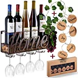 Wall Mounted Wine Rack - Bottle & Glass Holder - Cork Storage Store Red, White, Champagne - Come with 6 Cork Wine Charms - Home & Kitchen Décor - Storage Rack - Designed by Anna Stay,Home