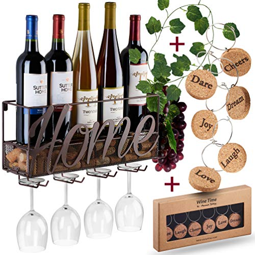 Wall Mounted Wine Rack - Bottle & Glass Holder - Cork Storage Store Red, White, Champagne - Come...