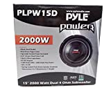 15' Pyle PLPW15D 2000w Single Speaker Car Audio Subwoofer Dual Coil with GTMAT 80mil Ultra Sound Deadener License Plate Kit