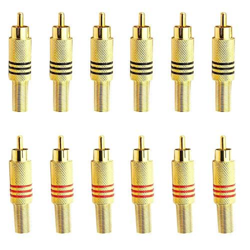 Conector RCA Macho RCA Vídeo Adaptador RCA Conector de Cable Conector de Audio RCA Enchufes Macho RCA Conector de Video RCA Dorado Para Transferencia Entre Interfaces de Equipos de Audio 12 Piezas