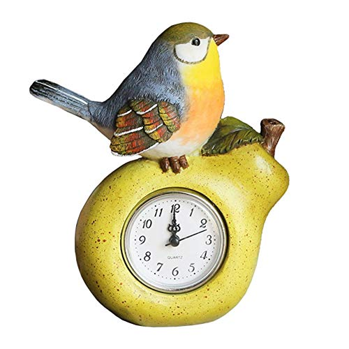 Reloj de Escritorio con Pilas del Reloj de Tabla de la Sala de Estar Dormitorio Creativa Personalizada rústica del pájaro de la Pera decoración del Marco
