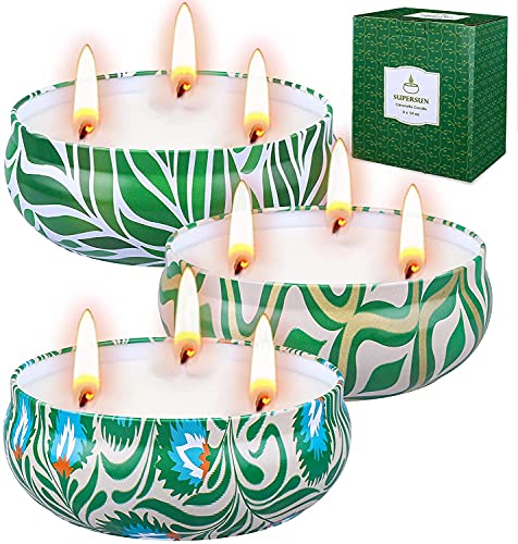 SUPERSUN Citronella Candles Outdoors Large: 3 Wick Garden Citronella Candle 3 x 14o Smokeless 80hrs Long Burn Time for Garden BBQ Camping Patio Outdoors Indoors 100% Natural Soy Wax