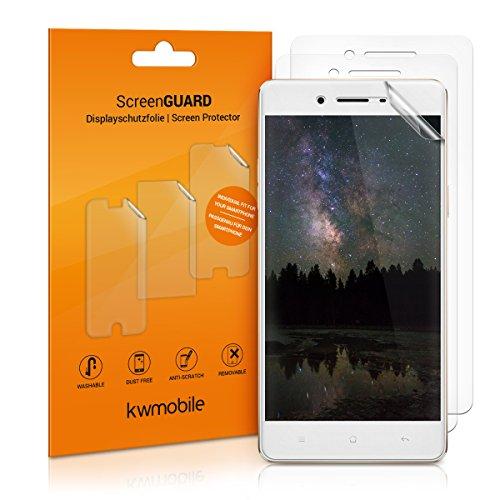 kwmobile 3x Folie für Oppo F1 - klare Bildschirmschutzfolie Bildschirmschutz Crystal Clear kristallklar Bildschirmfolie Schutzfolie