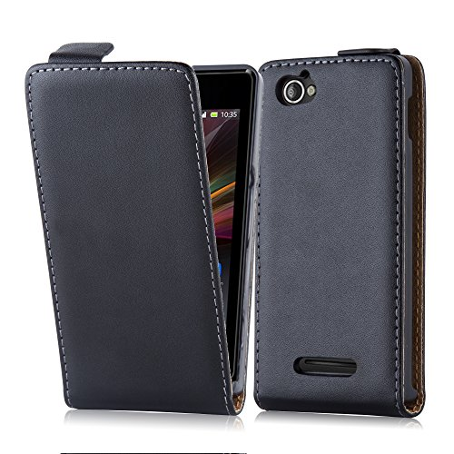 Cadorabo Hülle für Sony Xperia M (1.Gen.) - Hülle in KAVIAR SCHWARZ – Handyhülle aus glattem Kunstleder im Flip Design - Case Cover Schutzhülle Etui Tasche