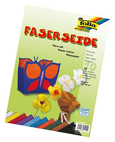 folia 910409 - Faserseide, 10 Blatt, 25 g/qm, ca. 23 x 32 cm, 10 farbig sortiert - ideal für zahlreiche Bastelideen