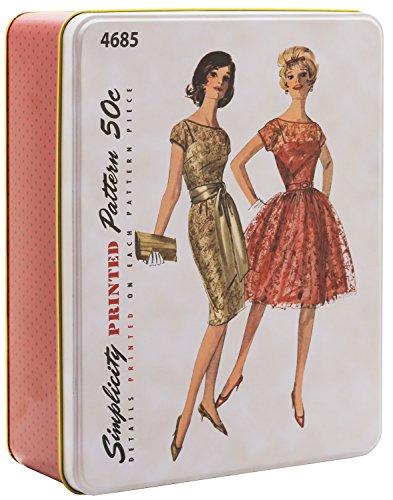 Simplicity Vintage Fashion 60's Tin Box, 9' L x 6.75' W x 2.75' H