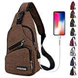 Peicees Travel Gym Bike Sling Bag Shoulder Backpack Daypack w/ USB Charging Port
