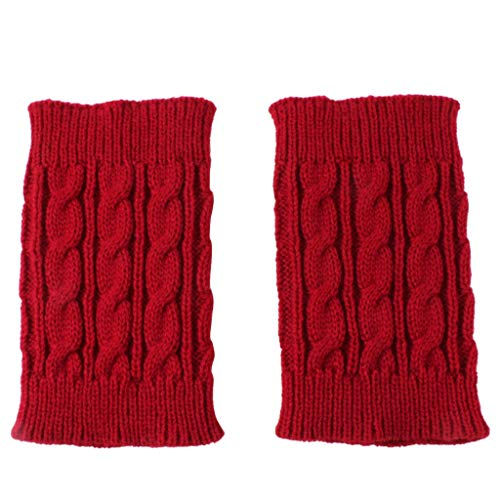 FunDiscount shop 1 Pair Women Short Boots Cuffs Winter Crochet Cable Knitted Leg Warmer Topper Socks - Sweet and Cozy (Red)