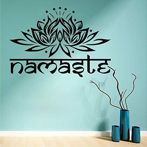 Calcomanía de pared Yoga Flor de loto Etiqueta de la pared Estilo de yoga Mural de pared Mandala Símbolo de Buda Etiqueta de cita Decoración para el hogar A7 61x42cm