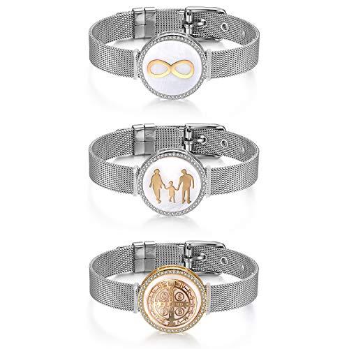 JewelryWe Schmuck 3pcs Mesh Armband Damen Edelstahl Zirkonia Infinity Familie St Benedict Kreuz Charms Armkette Armreif Charmband mit Weiß Abalone Muschel Gold Silber