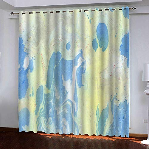 CHNXXL Gardine Verdunkelungsvorhang Vorhang mit Ösen Polyester 3D Bedruckt Vorhänge Blaues Meerwasser für Schlafzimmer Wohnzimmer Kinder oder Babyzimmer 183(W) x214(H)(cm) 2 Stück