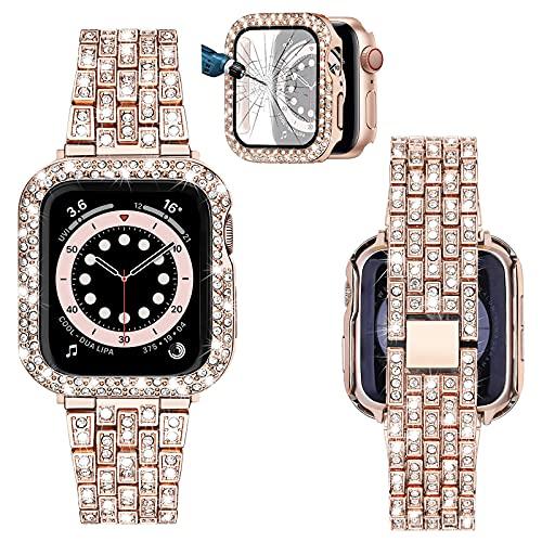 TRUMiRR Scintillio+ Cinturino di Diamanti Sostituzione per 40mm Apple Watch 6/SE, Bracciale in Metallo Bling in Acciaio Inossidabile con Pellicola Protettiva per Lo Schermo per iWatch SE Series 6 5 4