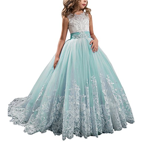 Lace Princess Long Girls Pageant Dresses Kids Prom Puffy Tulle Ball Gown Aqua