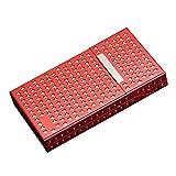 ESGT Zigarettenetui Damen Doppelschicht Aluminiumlegierung Hohl Design Magnet Saug 20 Sticks Feinrauch Metall Zigarettenschachteln,Rot,10.6×6×1.6cm