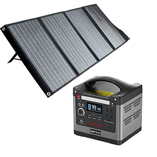 グッドグッズ(GOODGOODS) セット 大容量 ポータブル電源 リン酸鉄リチウム電池 93120mAh/298Wh ソーラーパネル 120W 折り畳み 停電対策 アウトドア 防災に SET-14298C