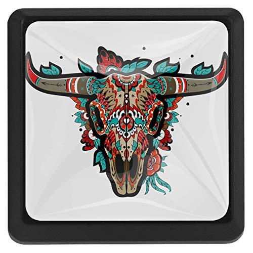 Cráneo de búfalo Perillas de extracción de para gabinetes, armarios, puertas y cajones de muebles: se venden como un paquete de 3 perillas