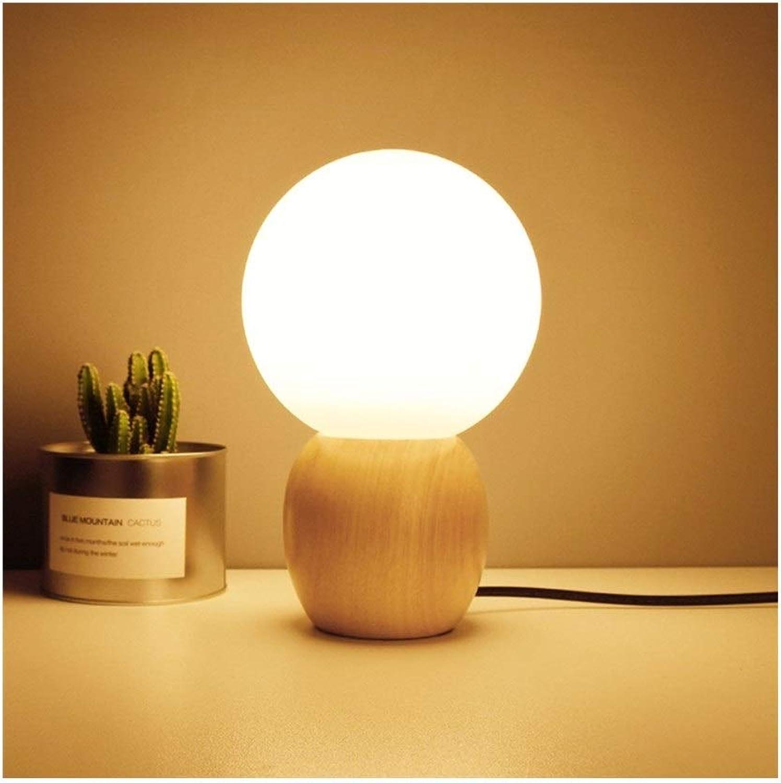 DYFYMXTischlampe, Tischlampe Tischlampe Nachtlicht Nordic kreative Schreibtischlampe aus Holz mit Schlafzimmer Nacht Studie mit sphrischen Glasabdeckung E27