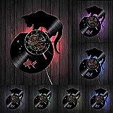 YYYFF Lindos Gatos y Divertidas Pinturas de Acuario Reloj de Pared Gatos en el Acuario Disco de Vinilo Reloj de Pared Gatito decoración Reloj Regalo-con LED