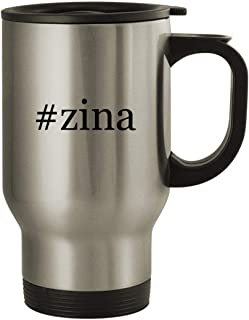 #zina - Stainless Steel Hashtag 14oz Travel Mug, Silver