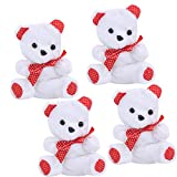 Fourwalls Teddy Bear as Gift for Girlfriend Love Wife Birthday Special  Valentine Gifts for Girlfriend (15 cm Tall, White, Set of 4)