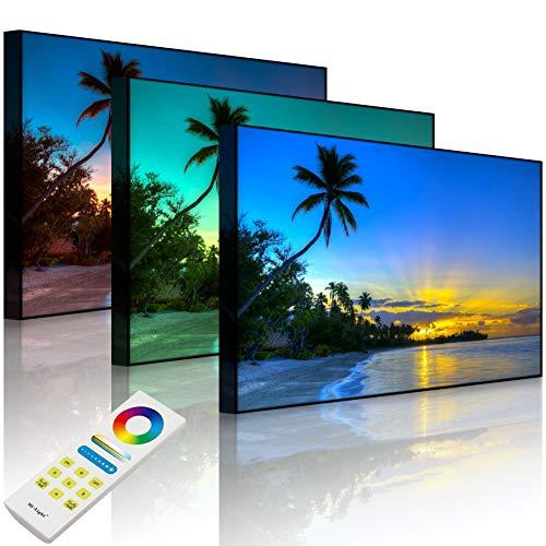 Lightbox-Multicolor | Leuchtbild | Palmen am Strand | 100x70 cm | Front Lighted