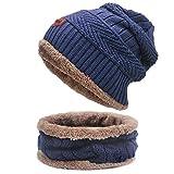 SCZZ Calentar Sombrero Hecho, Caliente Punto Hat Y El Crculo De La Bufanda del Sombrero del Esqu, Deportes Al Aire Libre Conjuntos Sombrero,Armada,Suit