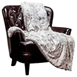 Chanasya Super Soft Fuzzy Faux Fur Throw Blankets - Fluffy Plush Lightweight Cozy Snuggly with Sherpa for Couch Living Room Bedroom - Silver Fall Winter Home Decor (50x65 Inches) Light Gray Blanket