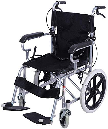 DJY-JY Wheelchair Steel Wheelchair-Folding Lightweight Self Propel Wheelchair with Adjustable Seat Belt, Handbrake Handle and Parkingbrake Design, Bearing Weight 140kg, Sea
