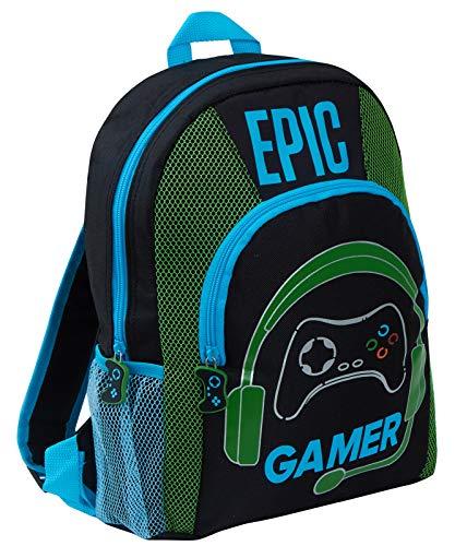 Epic Gamer Rucksack für Kinder, Teenager, Erwachsene, Reisen, Schule, Gaming-Tasche, Rucksack mit Flaschenhaltern, Schwarz (Schwarz) - MNCK10310