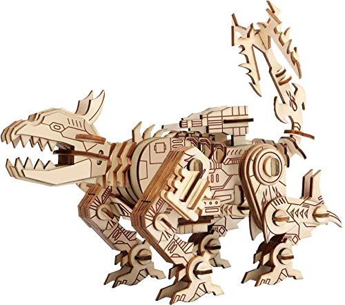 3D Mechanical Dog Wooden Three-Dimensional Puzzle Assembling Toy, Mechanical Wooden Model kit for Adults and Children, The Best STEM Toy, 140 Pieces (9.6×4.92×7.67 inches)